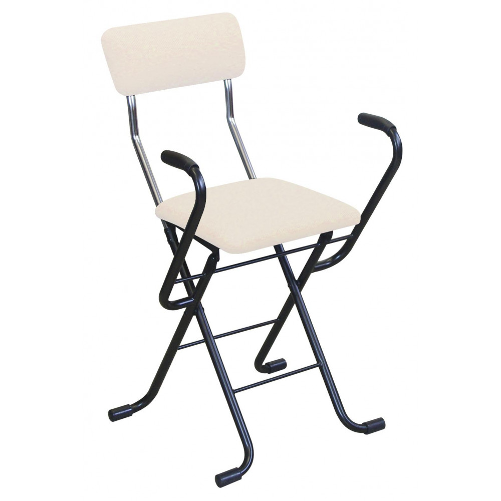 【代引き・同梱不可】ルネセイコウ 日本製 折りたたみ椅子 フォールディング Jメッシュアームチェア ベージュ/ブラック MSA-49