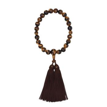 【代引き・同梱不可】京・六条 彩や 日本製数珠 男性用 虎目石 ブラウン 951540322010