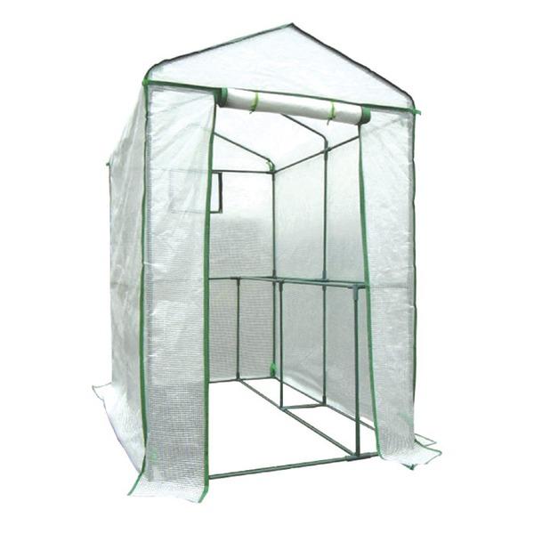 家庭用ビニールハウス(簡易温室) 「グリーンジャンボ」 ファスナー式 メッシュ窓付き 高さ190cm【日時指定不可】