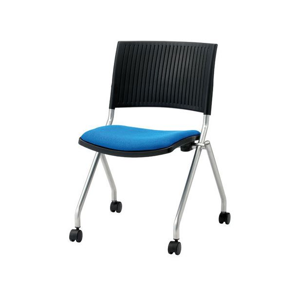ジョインテックス 会議椅子(スタッキングチェア/ミーティングチェア) 肘なし キャスター付き FJC-K5 ブルー 【完成品】【日時指定不可】