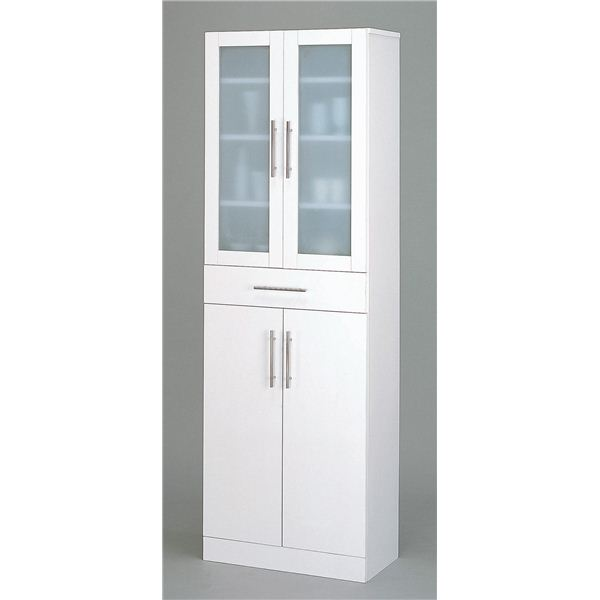 ガラス扉食器棚/キッチン収納 【幅60cm×高さ180cm】 ミストガラス使用 『カトレア』 大容量 【組立】【日時指定不可】