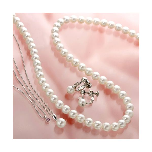 あこや真珠使用 パールネックレス & パールイヤリング & パールペンダント 3点セット ピンクトルマリンのペンダント付き【日時指定不可】
