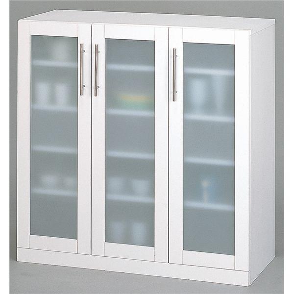 ガラス扉食器棚/キッチン収納 【幅90cm】 ミストガラス使用 『カトレア』 大容量 【組立】【日時指定不可】