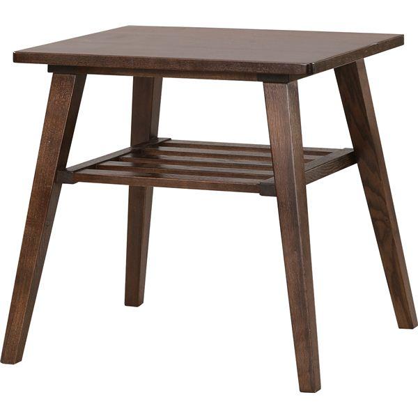 サイドテーブル 【モティ】 長方形 木製 棚収納付き RTO-743TBR ブラウン【日時指定不可】