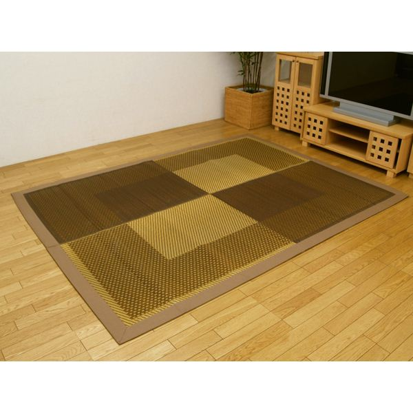 純国産/日本製 い草ラグカーペット 『D×モーニング』 ベージュ 約191×250cm (裏:不織布)【日時指定不可】