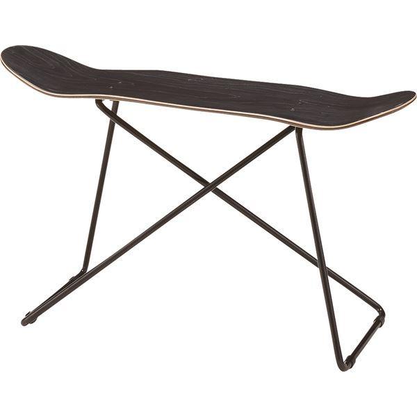 スツール(スケートボード型) 木製/スチール SF-201BK ブラック(黒)【日時指定不可】