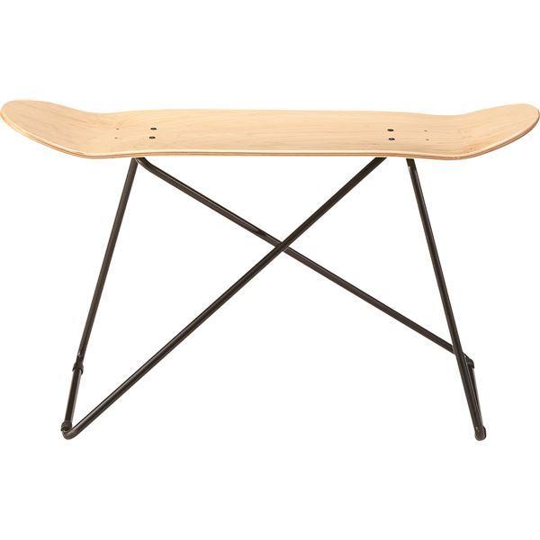スツール(スケートボード型) 木製/スチール SF-201NA ナチュラル【日時指定不可】