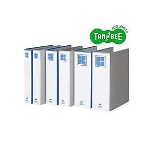 (まとめ)TANOSEE 両開きパイプ式ファイルE A4タテ 50mmとじ 青 30冊【日時指定不可】