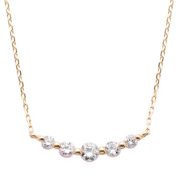 ダイヤモンド ネックレス K18 ピンクゴールド 0.3ct 5粒 5ストーン ダイヤネックレス 0.3カラット ペンダント【日時指定不可】