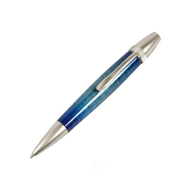 日本製 Air Brush Wood Pen キャンディカラー ボールペン(ギター塗装)【パーカータイプ/芯:0.7mm】Blue/カーリーメイプル【日時指定不可】