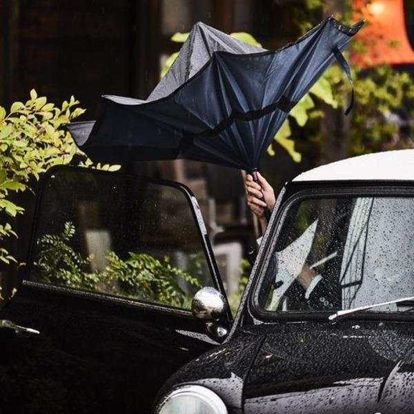 逆さに開く二重傘/アンブレラ 【ネイビー×ブラック】 晴雨兼用 自立可 『Circus サーカス』【日時指定不可】