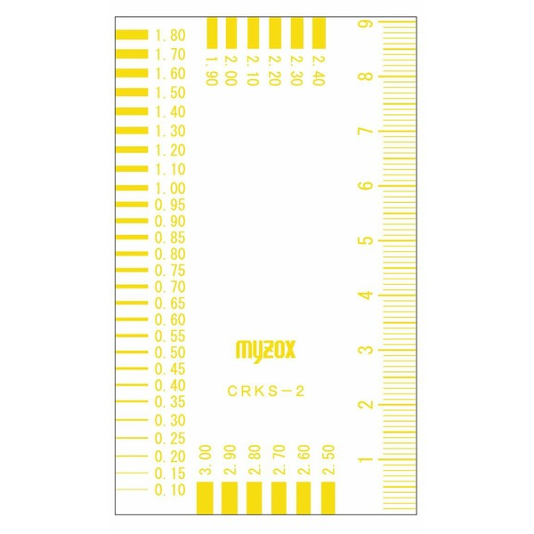 (まとめ)マイゾックス クラックスケール/測定工具 55×91mm CRKS-2Y 219271 イエロー(黄) 〔業務用/プロ向け/DIY/日曜大工〕【×30セット】【日時指定不可】