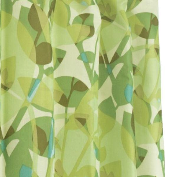 間仕切りカーテン 【巾60-110×丈200cm/グリーン リーフ柄】 タッセル・フック・リングランナー付き 『ラウンドリーフ』【日時指定不可】