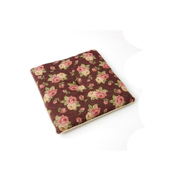 クッション リビング エレガンス 花柄 『テセラ』 ブラウン 約55×55cm 2枚組【日時指定不可】