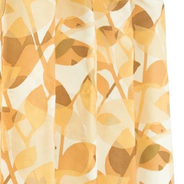 間仕切りカーテン 【巾60-110×丈135cm/オレンジ リーフ柄】 タッセル・フック・リングランナー付き 『ラウンドリーフ』【日時指定不可】