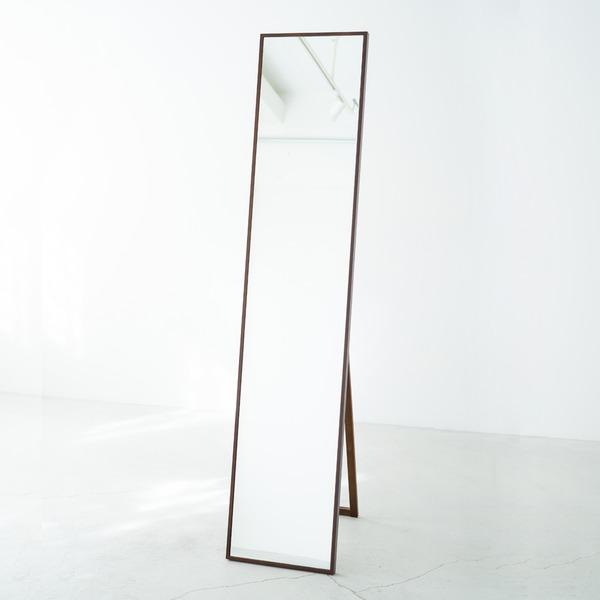 細枠スタンドミラー/姿見鏡 【スリム/ブラウン】 幅32cm 木製フレーム 飛散防止加工 折りたたみ可 日本製 【完成品】