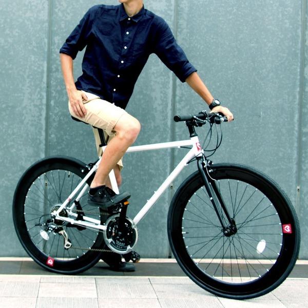 クロスバイク 700c(約28インチ)/ホワイト(白) シマノ21段変速 軽量 重さ11.2kg 【HEBE】 ヘーべー CAC-024【代引不可】【日時指定不可】