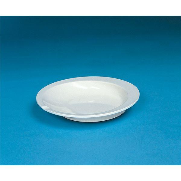 (まとめ)アビリティーズケアネット 食事用具 すくいやすい皿 アイボリー F50100【×15セット】【日時指定不可】