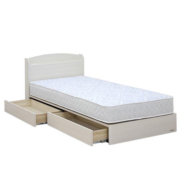日本製 引き出し付き 宮付き シングルベッド 5.5ポケットコイルマットレス(ハード)付き ホワイト 『ミルキー』【代引不可】【日時指定不可】