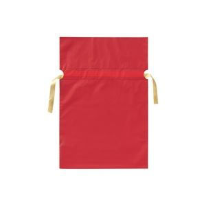 (業務用30セット) カクケイ 梨地リボン付き巾着袋 赤 M 20枚FK2403【日時指定不可】