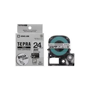 (業務用30セット) キングジム テプラPROテープマット/ラベルライター用テープ 【幅:24mm】 透明/黒文字 SB24T【日時指定不可】