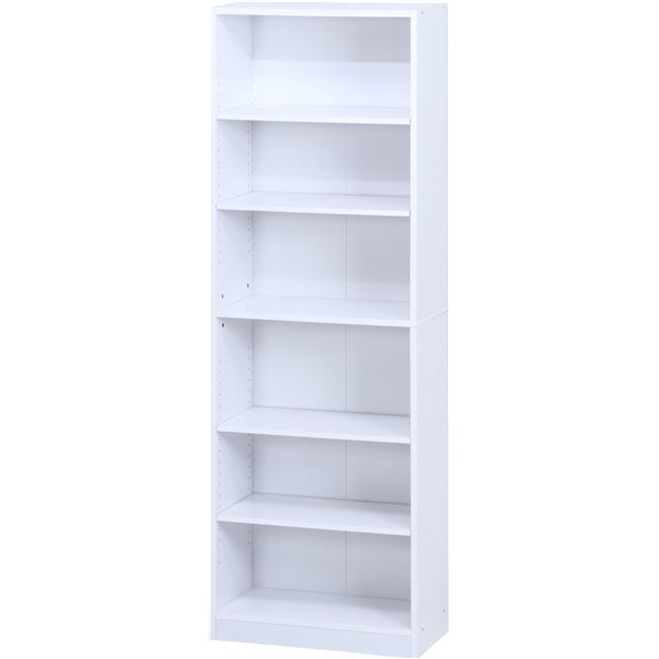 多目的 収納棚/本棚 6段 【ホワイト】 幅60cm 〔オフィス 書斎 子供部屋〕【代引不可】【日時指定不可】