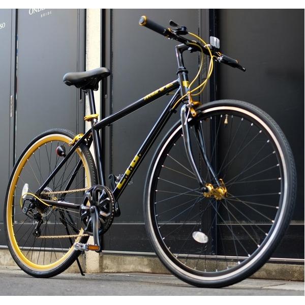 クロスバイク 700c(約28インチ)/ブラック(黒) シマノ7段変速 重さ/ 12.0kg 軽量 アルミフレーム 【LIG MOVE】【代引不可】【日時指定不可】