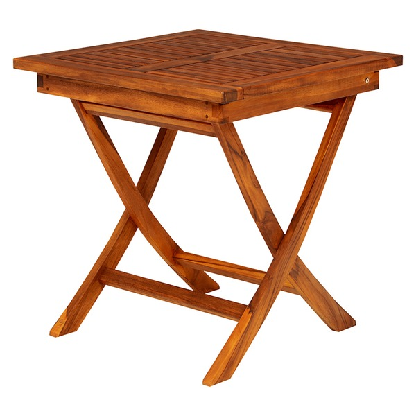 木製ガーデンテーブル/アウトドアテーブル 【正方形/幅70cm】 折りたたみ式 チーク材使用 木目調 【代引不可】【日時指定不可】