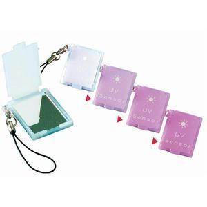【紫外線対策】 携帯ミニコンパクトミラー 【10個セット】 UVセンサー/ストラップ付き 日本製【日時指定不可】