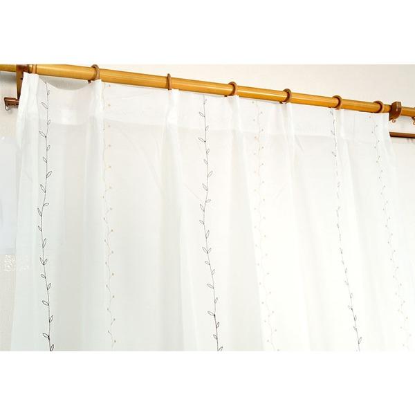 刺繍リーフ柄レースカーテン 【2枚組 100×176cm】 ホワイト 洗える 『刺繍プチリーフ』【日時指定不可】
