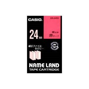 (業務用30セット) CASIO カシオ ネームランド用ラベルテープ 【幅:24mm】 XR-24RD 赤に黒文字【日時指定不可】