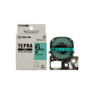 (業務用50セット) キングジム テプラPROテープ/ラベルライター用テープ 【幅:6mm】 SC6G 緑に黒文字【日時指定不可】