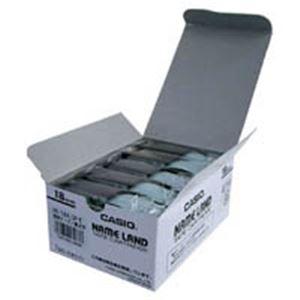 (業務用5セット) カシオ計算機(CASIO) テープ XR-18X-5P-E 透明に黒文字 18mm 5個 【日時指定不可】