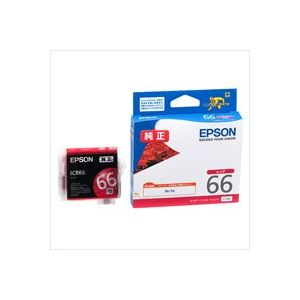 (業務用40セット) EPSON エプソン インクカートリッジ 純正 【ICR66】 レッド(赤)【日時指定不可】