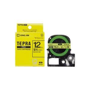 (業務用50セット) キングジム テプラPROテープ/ラベルライター用テープ 【幅:12mm】 SK12Y 蛍光黄に黒文字【日時指定不可】