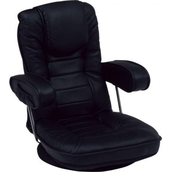 リクライニング回転座椅子 肘掛け 背部14段リクライニング/頭部枕付/肘部跳ね上げ式 黒(ブラック) 【代引不可】【日時指定不可】