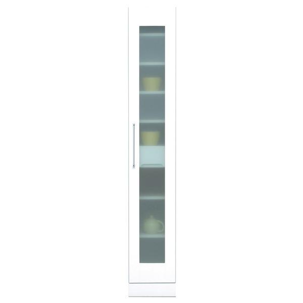 スリムタイプ食器棚/キッチン収納 幅30cm 飛散防止加工ガラス使用 移動棚付き 日本製 ホワイト(白) 【完成品】【代引不可】