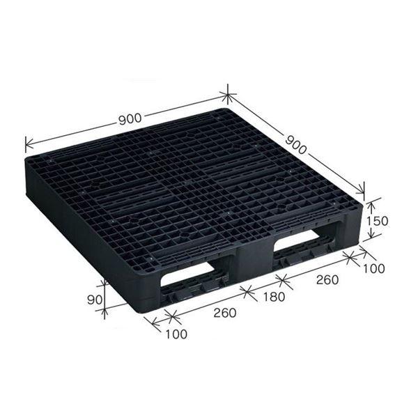樹脂パレット/軽量パレット 【JL-D2・0909】 ブラック 材質:再生PP 安全設計【代引不可】【日時指定不可】