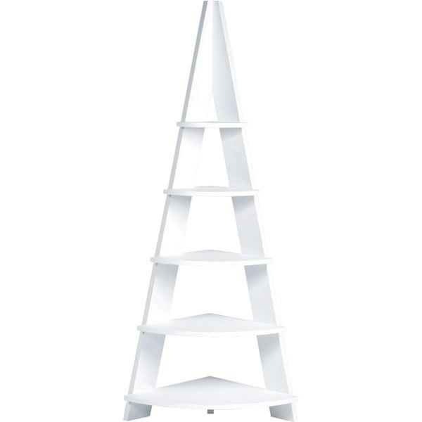 シンプルコーナーラック/収納棚 【5段 ホワイト】 幅57cm×奥行40cm×高さ137cm NWS-560WH【日時指定不可】