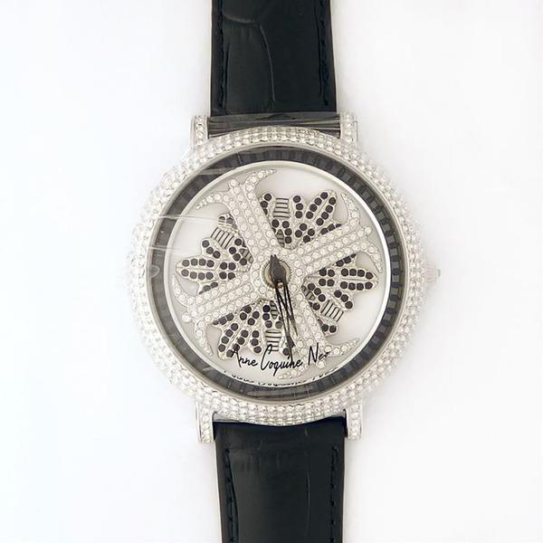 アンコキーヌ ネオ 45mm バイカラー ミニクロス シルバーベゼル インナーベゼルブラック ブラックベルト アルバ 正規品(腕時計・グルグル時計)【日時指定不可】