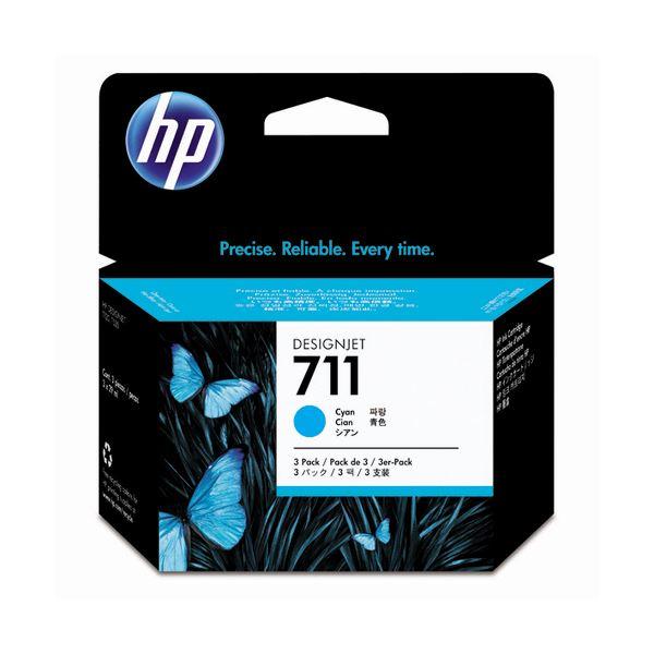 (まとめ) HP711 インクカートリッジ シアン 29ml/個 染料系 CZ134A 1箱(3個) 【×3セット】【日時指定不可】