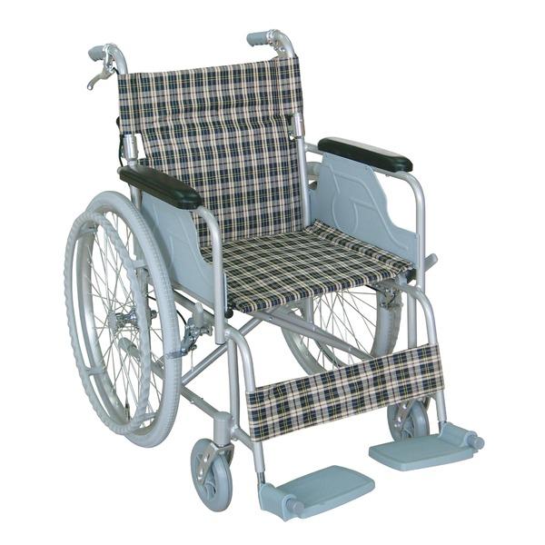 アルミ製 車椅子 【背折れタイプ】 自走・介助兼用 軽量 折り畳み テイコブハンドブレーキ付き 〔介護用品 福祉用品〕【日時指定不可】