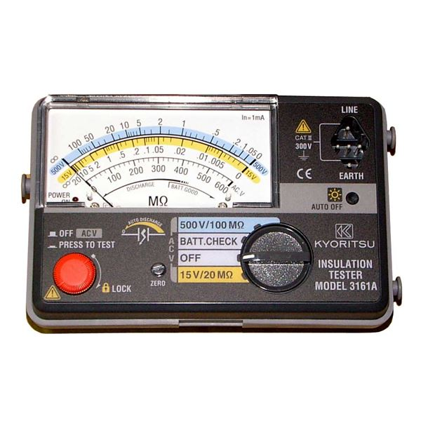 共立電気計器 キューメグ 2レンジ小型絶縁抵抗計 3161A【代引不可】【日時指定不可】