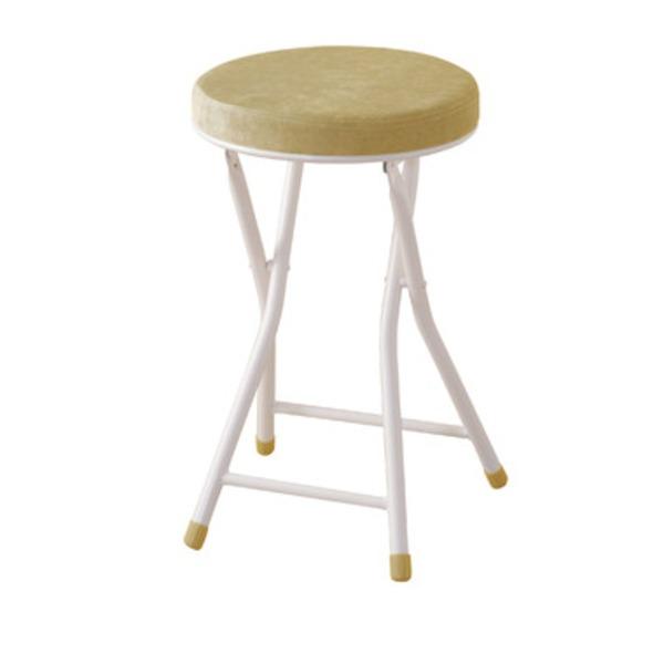シンプル折りたたみスツール/腰掛け椅子 【イエロー】 座面高49cm スチール 『ロンダ』 PC-31YE【日時指定不可】