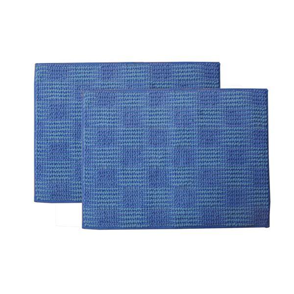 バスマット フロアマット 洗える 吸水 マイクロファイバー 『さらり美人2』 ブルー 2枚組 約45×60cm【日時指定不可】