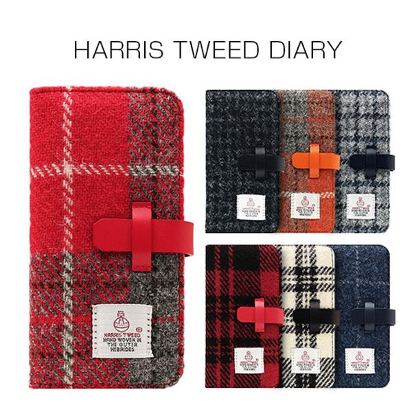 SLG Design iPhone 8 / 7 Harris Tweed Diary グレー×ネイビー【日時指定不可】