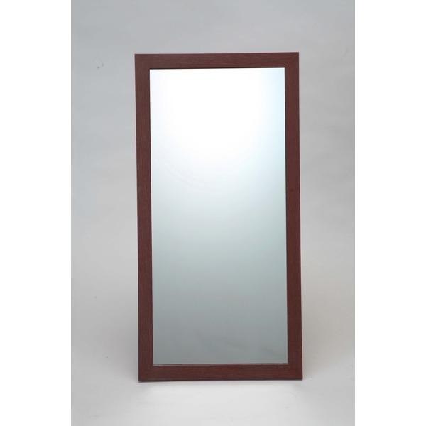 ウォールミラー/全身姿見鏡 【壁掛け用】 L2 木製フレーム 壁掛けひも付き 日本製 ブラウン【日時指定不可】