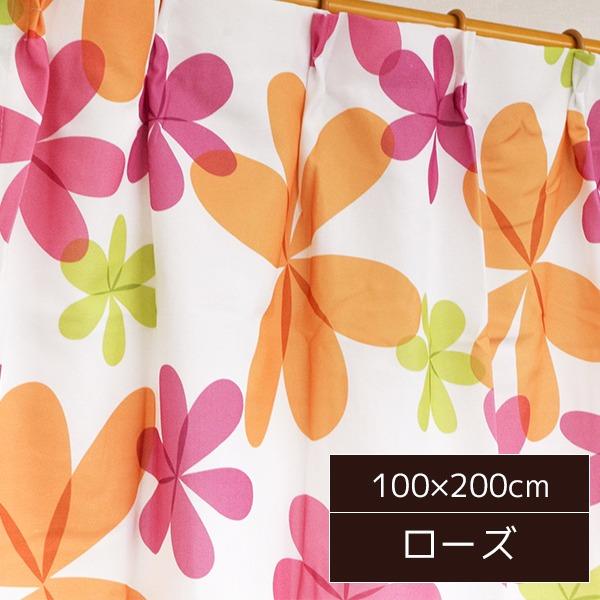可愛らしい北欧風カーテン 2枚組 100×200cm ローズ リーフ柄 子供部屋 パルティ【日時指定不可】