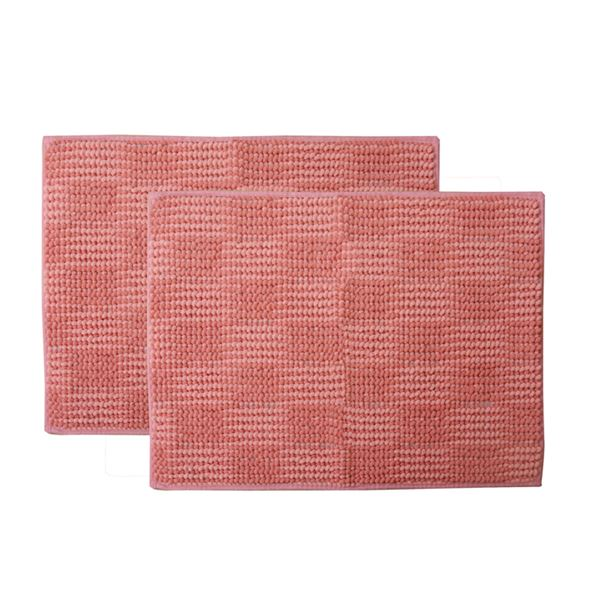 バスマット フロアマット 洗える 吸水 マイクロファイバー 『さらり美人2』 ピンク 2枚組 約45×60cm【日時指定不可】