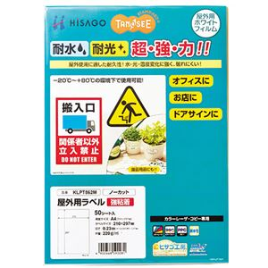 (まとめ) TANOSEE 屋外用ラベル レーザー用 A4 ノーカット 1冊(50枚) 【×5セット】【日時指定不可】